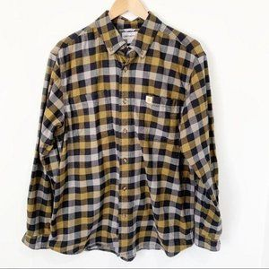 Carhartt Plaid Flannel Button Down Relaxed Fit L